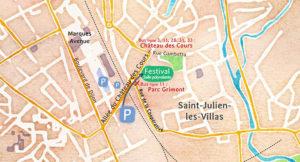 Carte de Saint-Julien, acces Festival